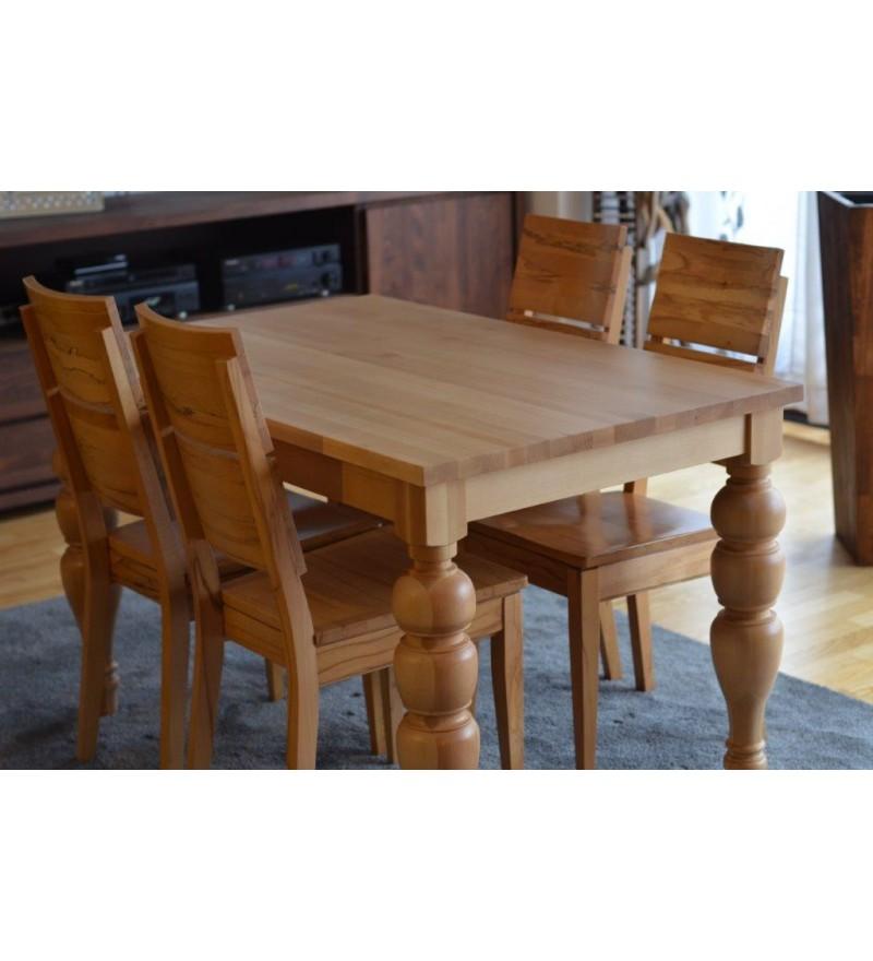 Stół rozkładany bukowy z toczonymi nogami